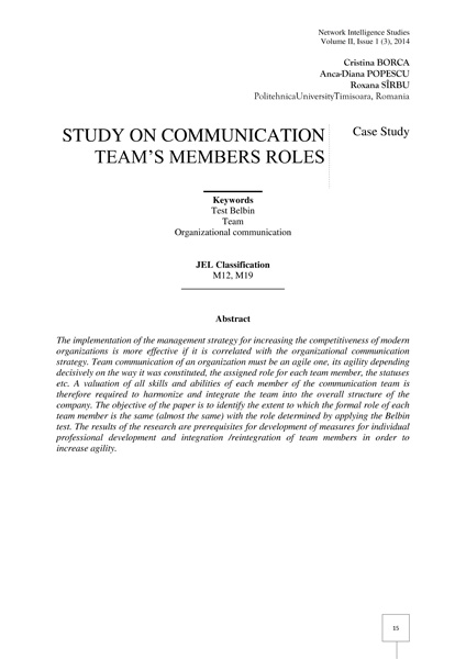 Volume II, Network Intelligence Studies